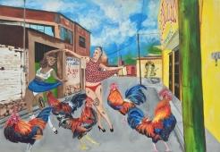cocks en la calle, acrylic on canvas, 53.5 x 37 inches