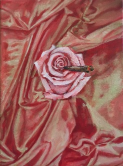 rose smoking a blunt, acrylic on canvas, 12 x 9 inches