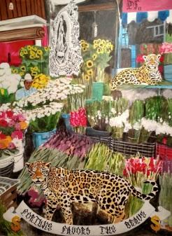 el mercado de flores, acrylic on canvas, 68 x 50 inches