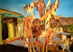 oaxaca dogs, acrylic on canvas, 34.25 x 48.5 inches