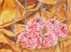 peonies smoking cigarettes, acrylic on canvas, 9 x 12 inches
