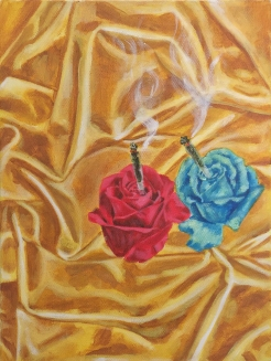 roses smoking joints #2, acrylic on canvas, 12 x 9 inches