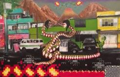 volcan del fuego, acrylic on canvas, 22 x 34.5 inches